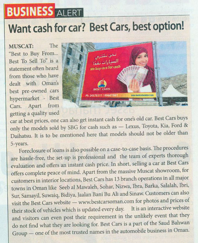 Want cash for car? Best Cars, best option!