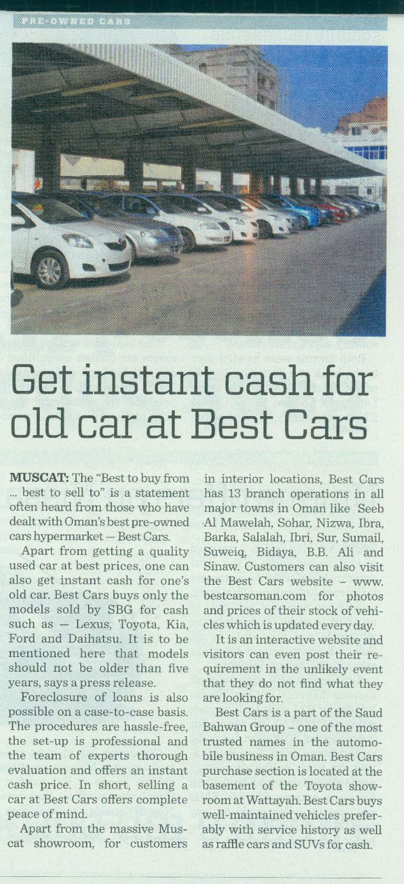 Get instant cash for old car at Best Cars