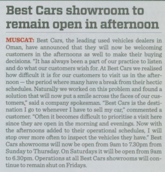 Best Cars Showroom to remain open in afternoon